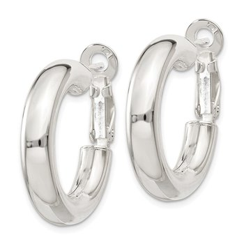 Sterling Silver 5x25mm Omega Back Hoop Earrings