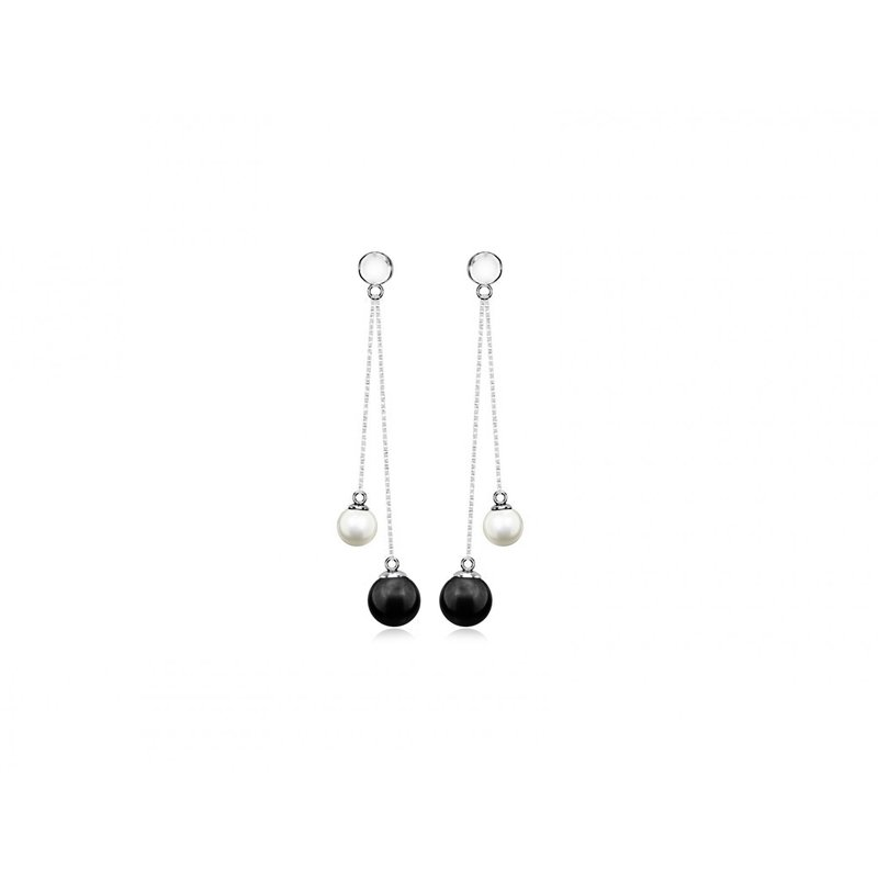 LARUS Jewelry Dangling Two Pearl Earrings