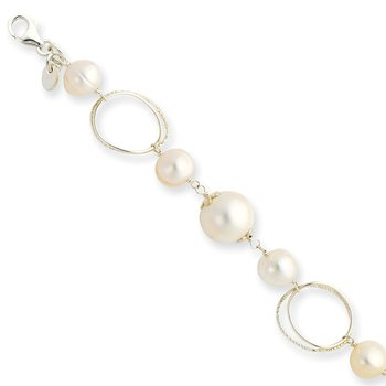 Sterling Silver FW Cultured Pearl 8.5in Bracelet