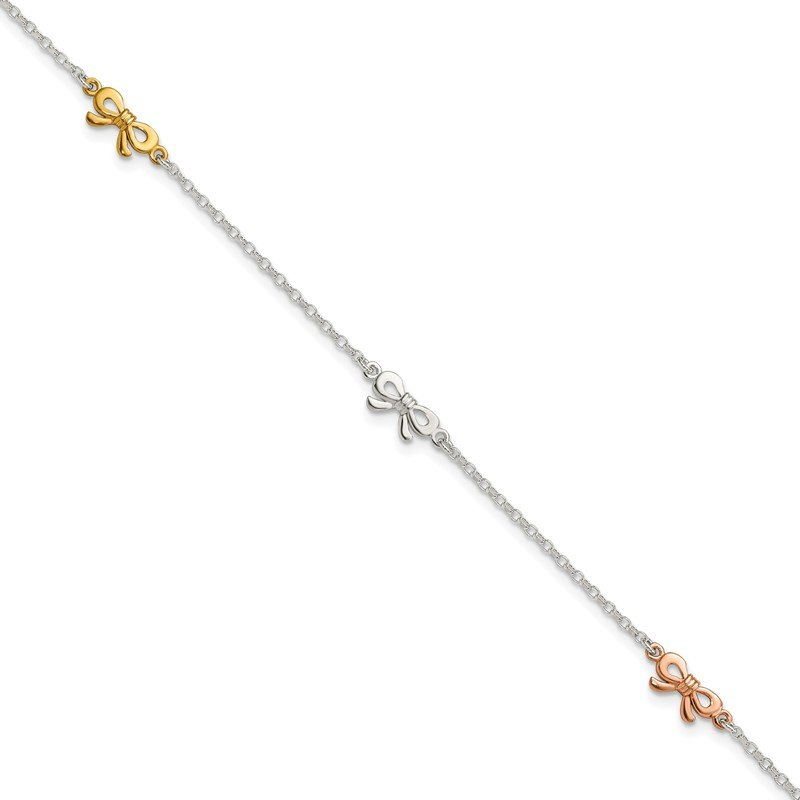 Quality Gold Sterling Silver Yellow and Rose-tone Bows 9in Plus 1in Ext. Anklet