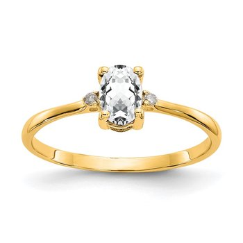 14k Diamond & White Topaz Birthstone Ring
