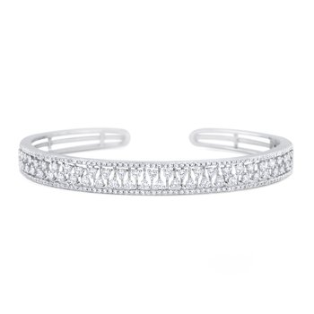 14K Diamond Hinged Cuff Bracelet