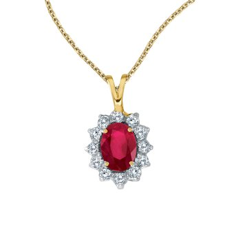 14k Yellow Gold Oval Ruby Pendant with Diamonds