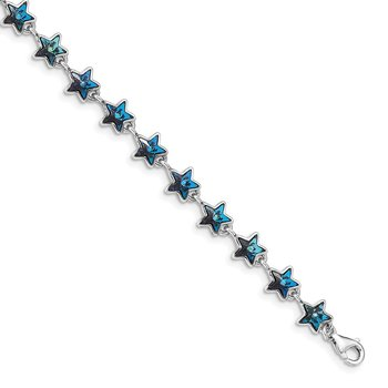 Sterling Silver Rhodium-plated Blue Crystal Stars w/1in ext Bracelet