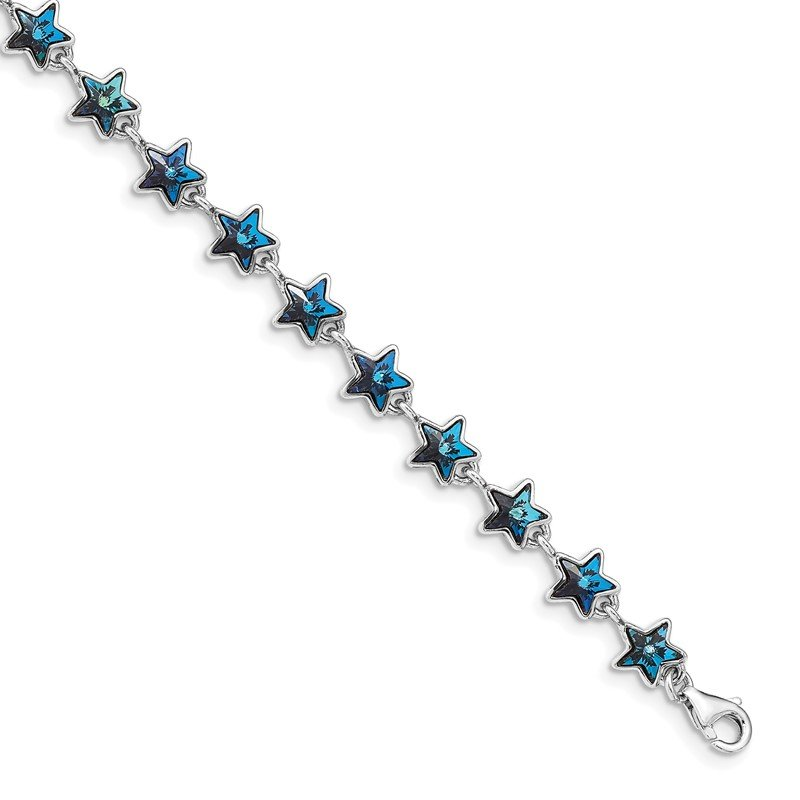 Quality Gold Sterling Silver Rhodium-plated Blue Crystal Stars w/1in ext Bracelet