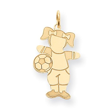14K Cuddles Girl Soccer Player Charm
