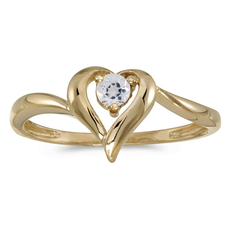 Color Merchants 10k Yellow Gold Round White Topaz Heart Ring