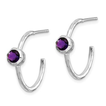 Sterling Silver Rhodium-plated w/Amethyst Post Hoop Earrings