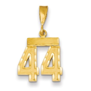 14k Small Diamond-cut Number 44 Charm