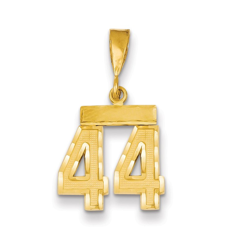 Quality Gold 14k Small Diamond-cut Number 44 Charm