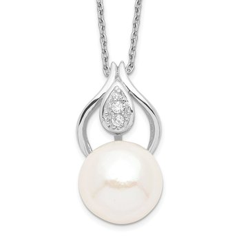 Sterling Silver Rh-plated 11-12mm White FW Cultured Pearl CZ Necklace