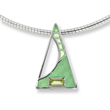 Sterling Silver Triangle Necklace-Green. Peridot.
