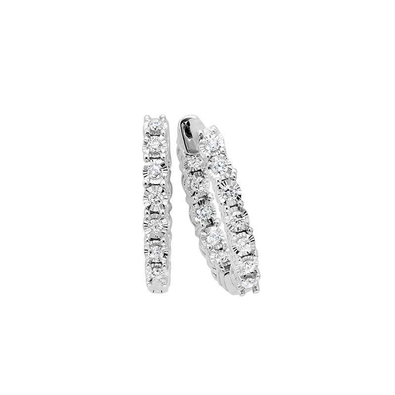 Gems One Diamond Starburst Inside Out Hoop Earrings in 14k White Gold (3 ctw)