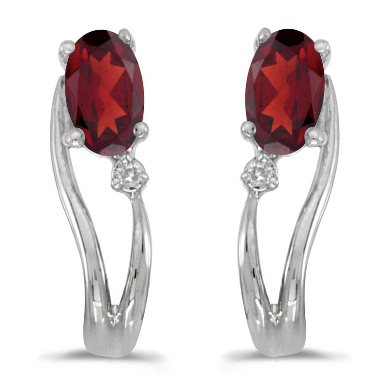 Color Merchants 14k White Gold Oval Garnet And Diamond Wave Earrings