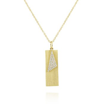 Diamond & Brushed Gold Tag Pendant Set in 14 Kt. Gold
