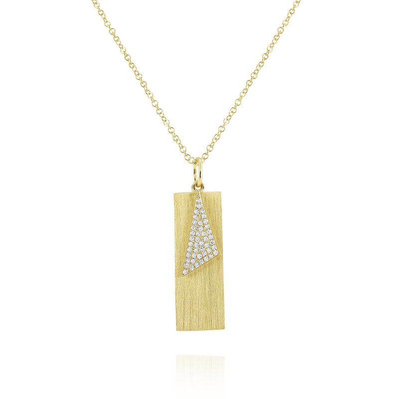 MAZZARESE Fashion Diamond & Brushed Gold Tag Pendant Set in 14 Kt. Gold