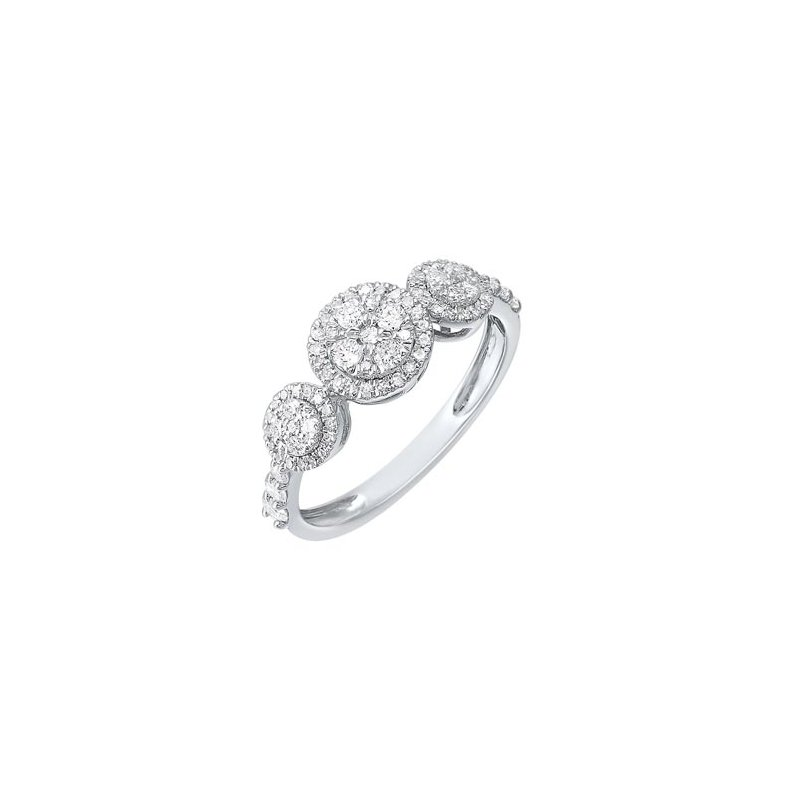Gems One Diamond Triple Halo Solitaire Engagement Ring in 14k White Gold (½ ctw)
