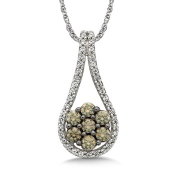 Pave set Cognac and White Diamond Open Drop Shaped and Round Cluster Dangle Pendant, 14k White Gold  (1/2 ct. tw.)