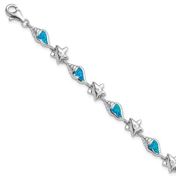 Sterling Silver Rhodium Starfish CZ/Created Opal Seashell Bracelet