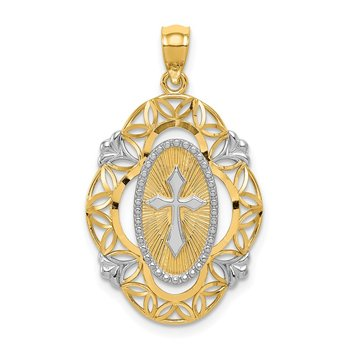 14k W/Rhodium Polished Cross Medal Pendant