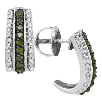 10kt White Gold Womens Round Green Color Enhanced Diamond Half J Hoop Earrings 1/3 Cttw