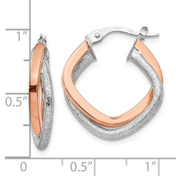 Leslie's 14k Two-tone Polished and Textured Hinged Hoop Earrings