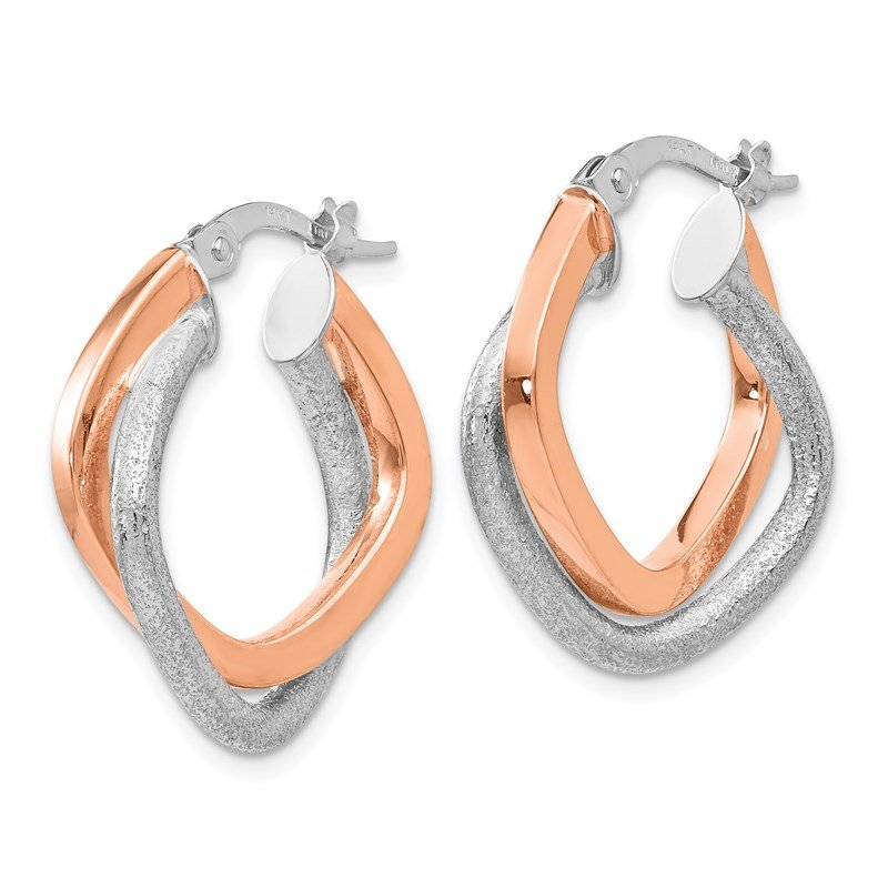 Leslie's Italian Gold Leslie's 14K Two-tone Polished and Textured Hinged Hoop Earrings