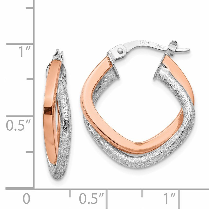 Leslie's Leslie's 14K Two-tone Polished and Textured Hinged Hoop Earrings
