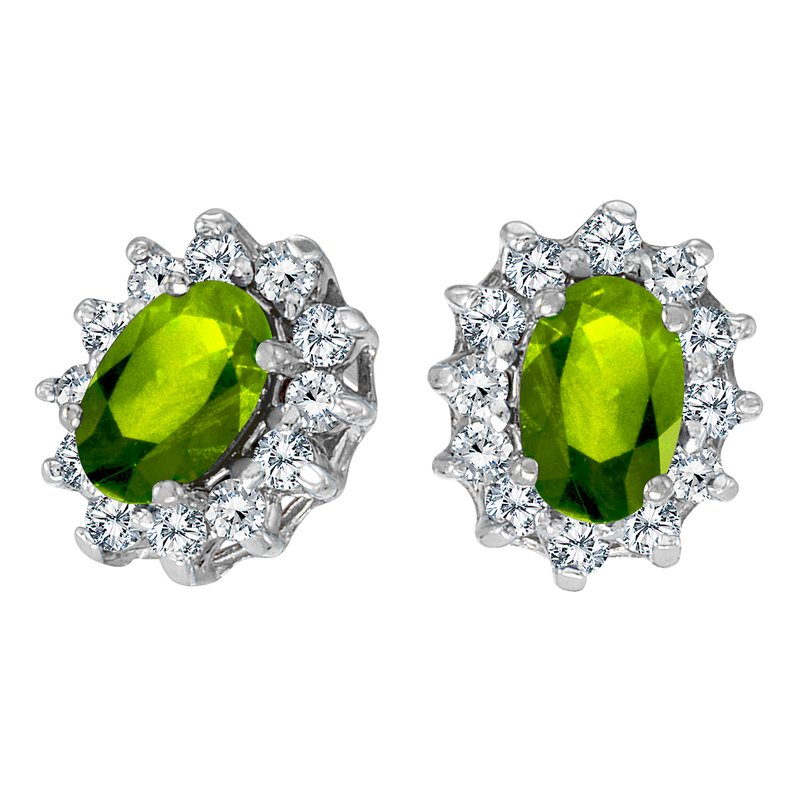 Color Merchants 10k White Gold Oval Peridot and .25 total ct Diamond Earrings
