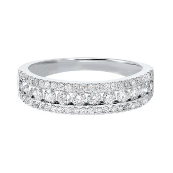 Triple Row Diamond Stackable Band in 14k White Gold (3/4ctw)