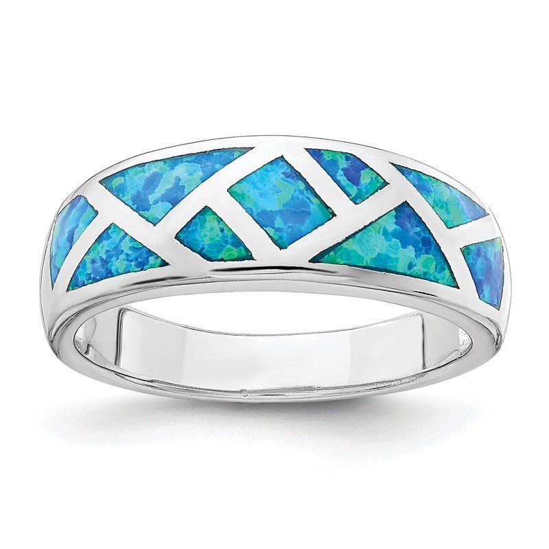 Quality Gold Sterling Silver Rhodium-plated Geometric Lab Created Blue Opal Ring