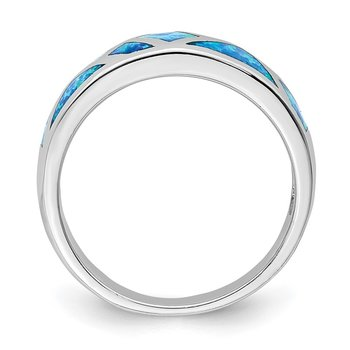Sterling Silver Rhodium-plated Geometric Lab Created Blue Opal Ring