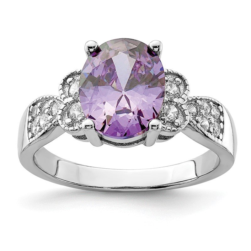Quality Gold Sterling Silver Purple and Clear CZ Ring