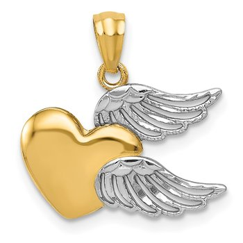 14K and White Rhodium Polished Heart w/ Wings Pendant