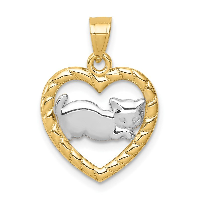 Quality Gold 14K w/Rhodium Cat in Heart Pendant