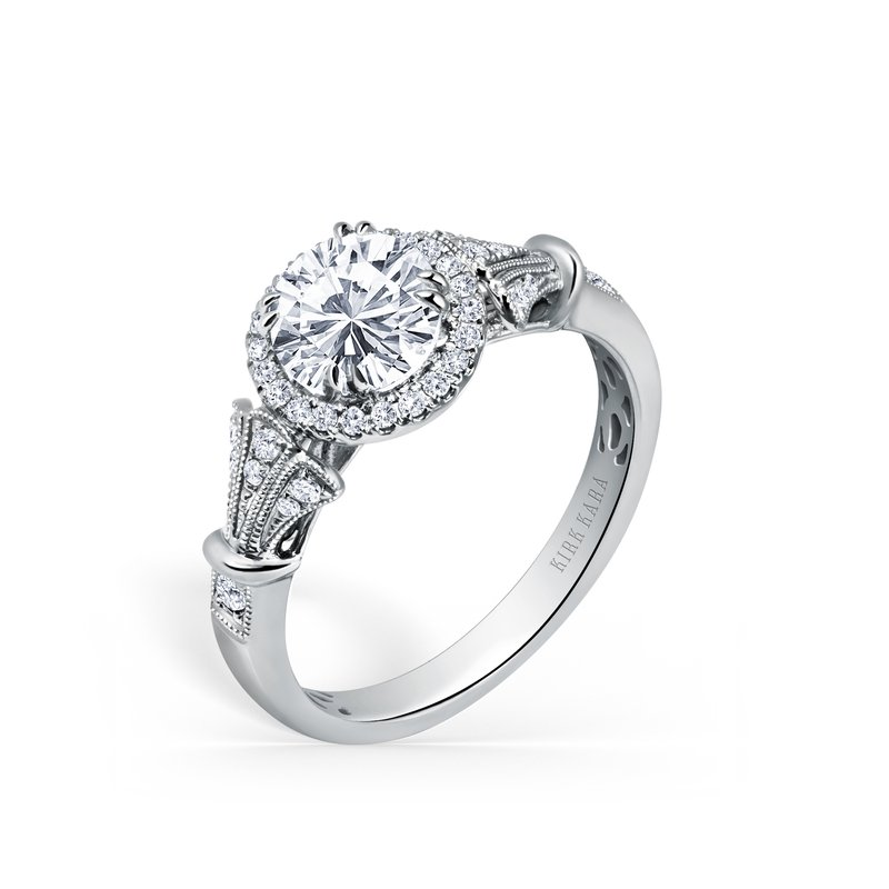 Three Leaf Halo Diamond Engagement Ring
