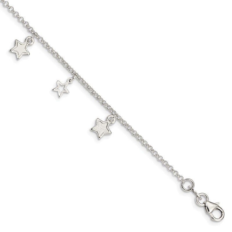 Quality Gold Sterling Silver Polished Star Bracelet
