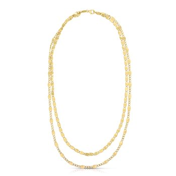 14K Gold Double Strand Vintage Chain Necklace