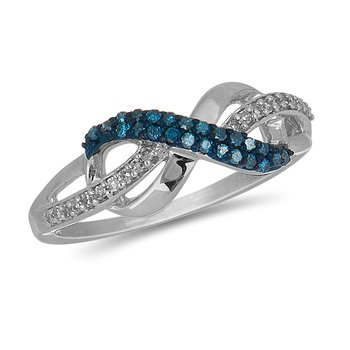 925 SS Blue and White Diamond Infinity Ring