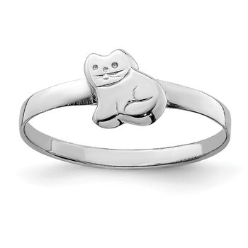 Sterling Silver RH Plated Child's Polished Kitty Cat Ring