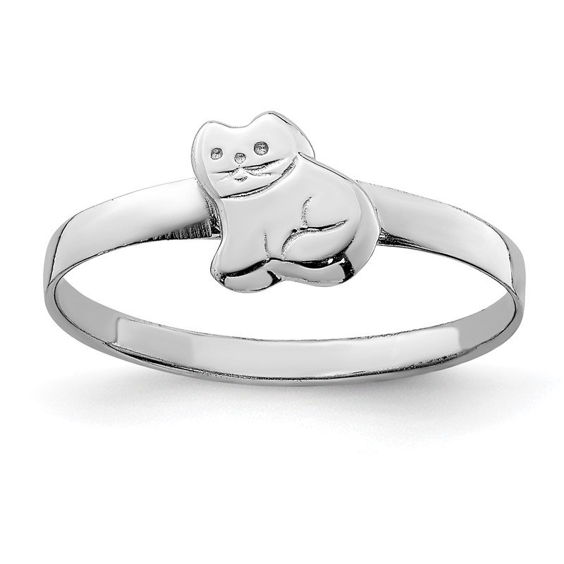 Fine Jewelry by JBD Sterling Silver RH Plated Child's Polished Kitty Cat Ring