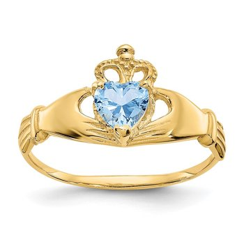 14k CZ March Birthstone Claddagh Heart Ring