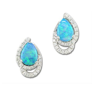 White Gold Opal Diamond Earrings
