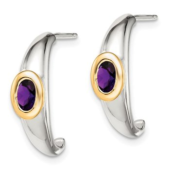 Sterling Silver w/ 14K Accent Amethyst J-Hoop Earrings