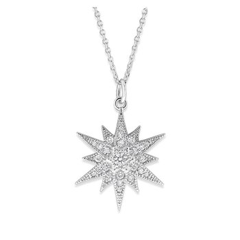 Diamond Starburt Necklace in 14K White Gold with 25 Diamonds Weighing .24 ct tw