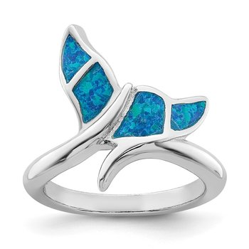 Sterling Silver Rhod-plated Blue Inlay Created Opal Whale Tail Ring