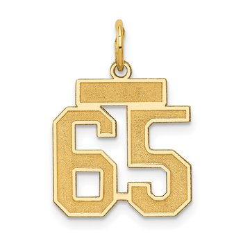 14k Small Satin Number 65 Charm