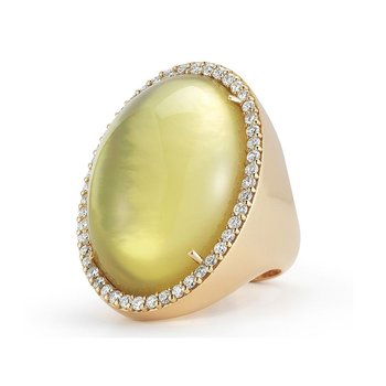 Ring with Diamonds, Quartz and Mother of Pearl
