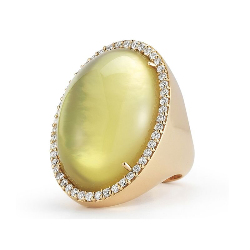 Roberto Coin  #21782 Of Ring With Diamonds, Quartz And Mother Of Pearl