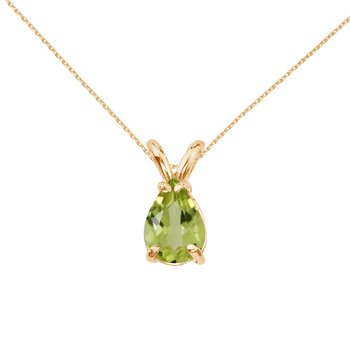 14k Yellow Gold Pear Shaped Peridot  Pendant
